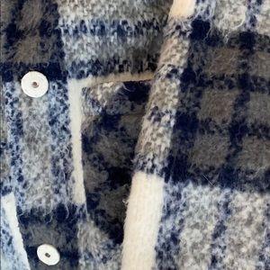 Warm plaid fuzzy trench coat